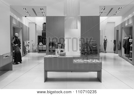 DUBAI - OCTOBER 15, 2014: interior of the store at the Dubai Mall. The Dubai Mall located in Dubai, it is part of the 20-billion-dollar Downtown Dubai complex, and includes 1,200 shops.