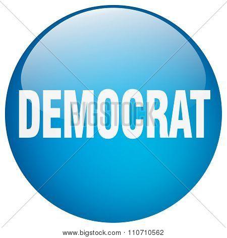 Democrat Blue Round Gel Isolated Push Button