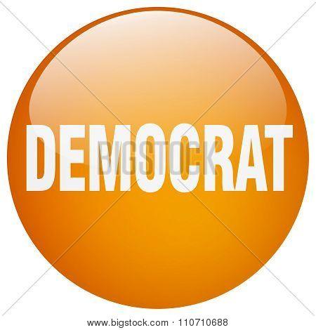 Democrat Orange Round Gel Isolated Push Button