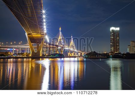 Under View Of Bhumibol Bridge In Bangkok Thailand On Night Scene