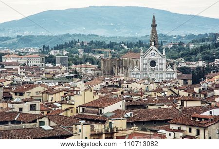 Basilica Of Santa Croce And Florence Cityscape