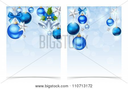 Flyers with blue Christmas balls, bells, stars and sparkles. Vector eps-10.