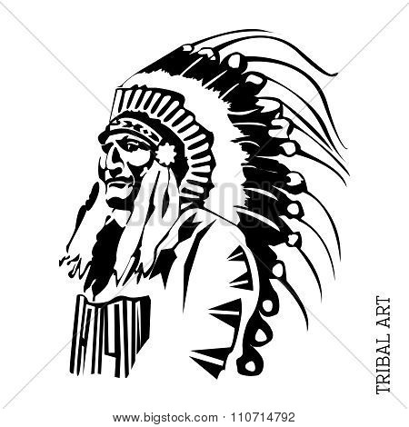 Vector Black  White Chief Illustration