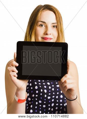 Portrait Of Young Woman Holding Black Tablet