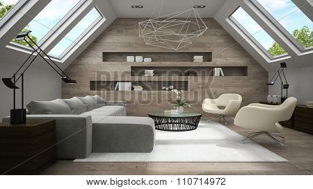 Interior of stylish mansard room 3D rendering