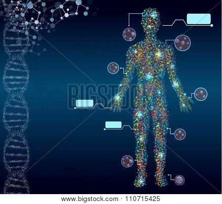 Abstract medical background with male figure