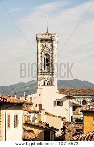 Giotto's Campanile In The Historic Center Of Florence