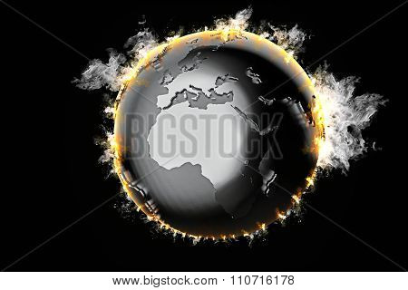 Burning Earth Globe. 3D Illustration