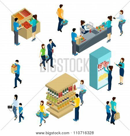 Isometric People Shopping