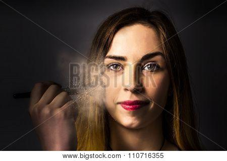 Creative Dark Makeup Beauty Applying Blush Powder
