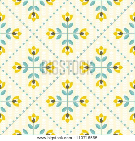 Seamless Floral Pattern, Yellow And Teal