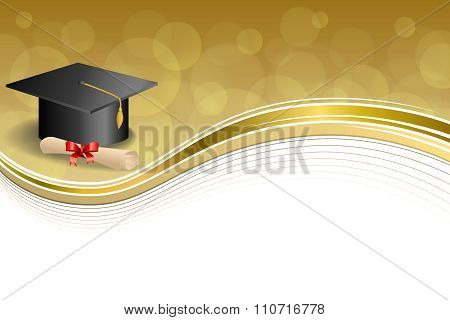 Background abstract beige education graduation cap diploma red bow gold frame illustration vector