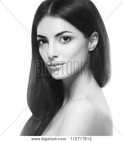 Beautiful Woman Face Close Up Black And White