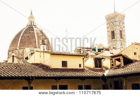 Cathedral Santa Maria Del Fiore And Giotto's Campanile In Florence, Italy