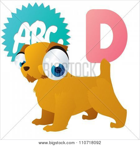 Vector cute funny colorful alphabet animals: D is for Dog