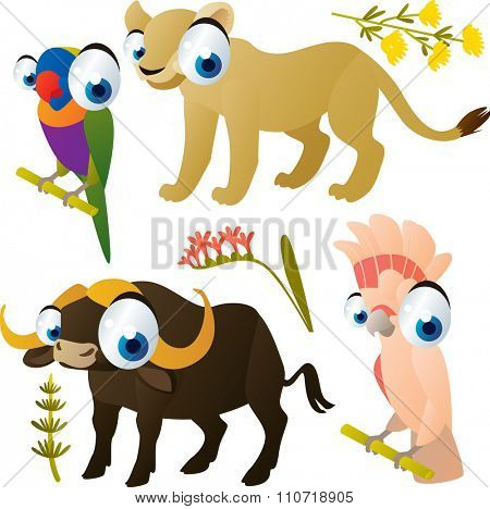 collection of cute cartoon animals: parrot, lioness, buffalo, cockatoo