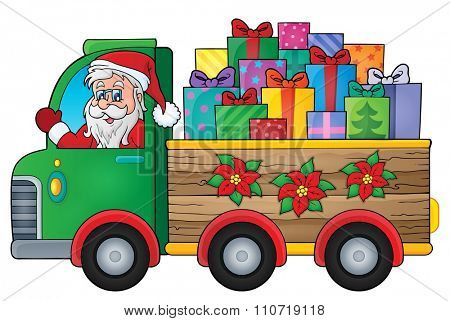 Christmas truck theme image 1 - eps10 vector illustration.