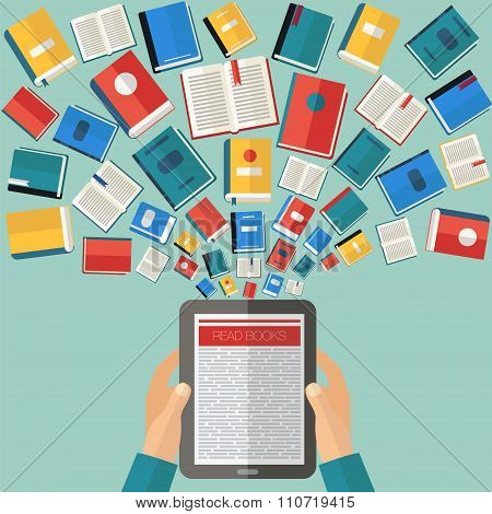 Reading Books And E-books. Flat Design In Vector