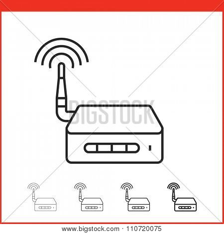 Wireless access point icon. Vector icon of wifi router in four different thickness. Linear style
