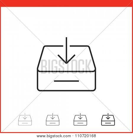 Downloading icon. Vector icon of box with download arrow in four different thickness. Linear style