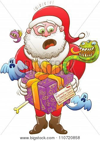 Santa Claus receiving an odd Xmas present from Halloween creatures