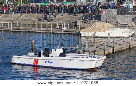 Policemen In The Boat On The Limmat River During Samichlaus-schwimmen