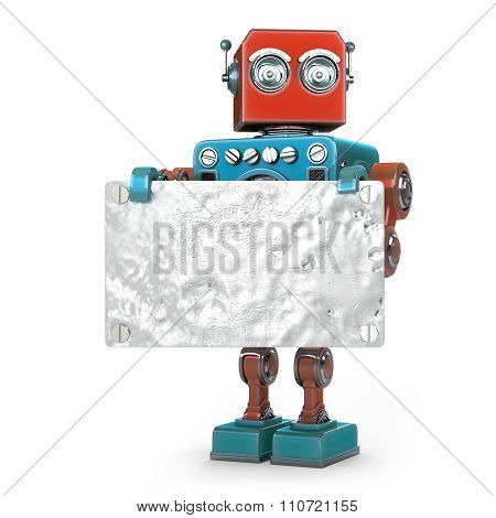 Retro Robot With Metallic Blank Board. Isolated. Contains Clipping Path