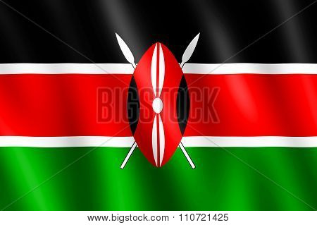 Flag Of Kenya Waving In The Wind