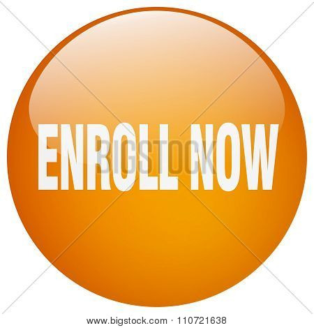 Enroll Now Orange Round Gel Isolated Push Button