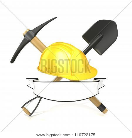 Mining tools shovel pickaxe and safety helmet with blank white ribbon. 3D