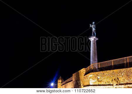 The Victor Monument On Kalemegdan Fortress At Night. Belgrade, Serbia