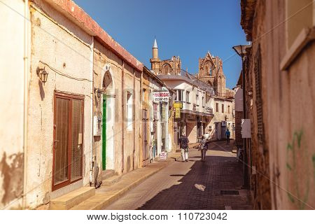 Famagusta, Cyprus - October 10: Lala Mustafa Pasa Street, A Touristic Street Leading To St. Nicholas