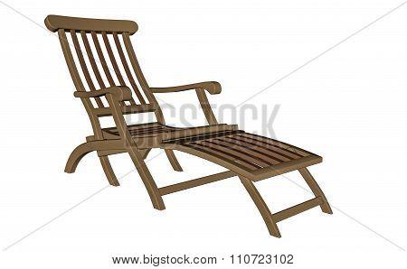 Wooden chaise longue - 3D render
