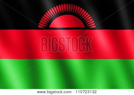 Flag Of Malawi Waving In The Wind