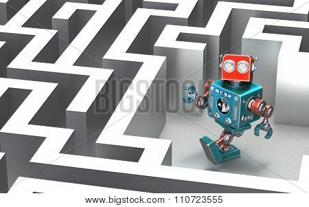 Robot In A Maze. Technology Concept.