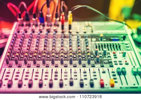 Colorful Details Of Music Mixer, Buttons On Equipment In Audio Recording Studio Or Nightclub