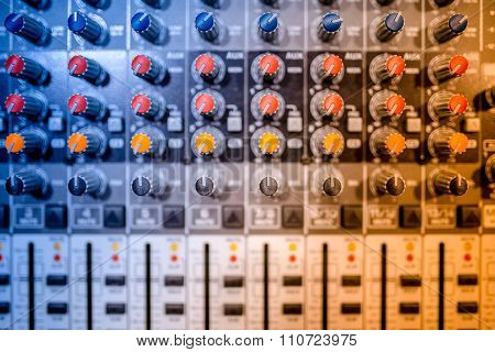 Music Mixer At Concert, Close-up Of Buttons Playing At Electrical Music Festival And Concert