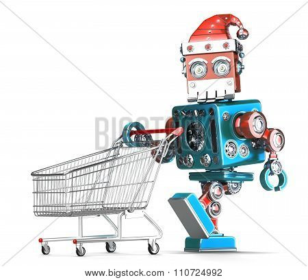 Vintage Robot Santa With Shopping Cart. Isolated. Contains Clipping Path