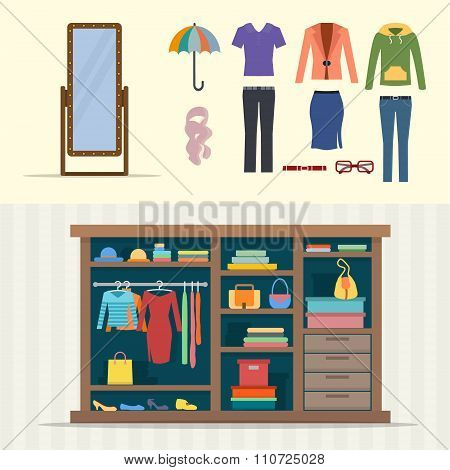 Wardrobe for clothes.