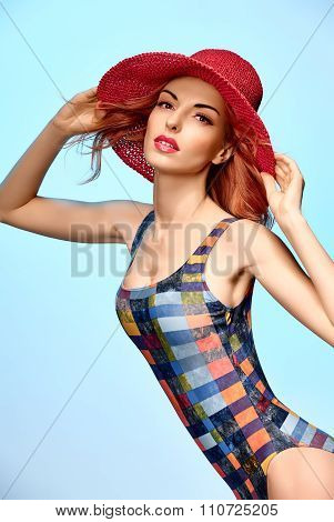 Beautiful woman in fashionable swimsuit. PinUp