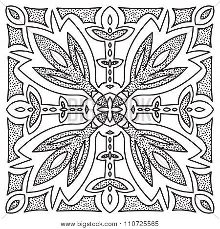 Hand Drawing Mandala Element. Italian Majolica Style