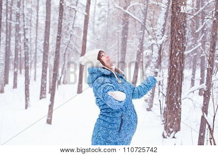 Pregnant Woman Girl In Winter Forest