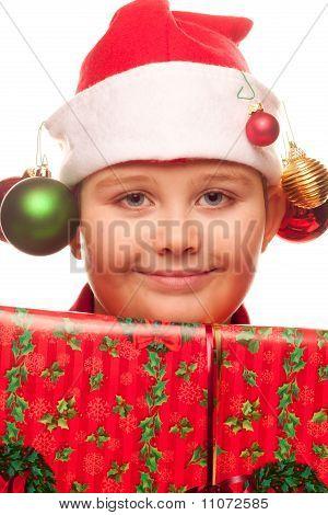 Christmas Boy And Present
