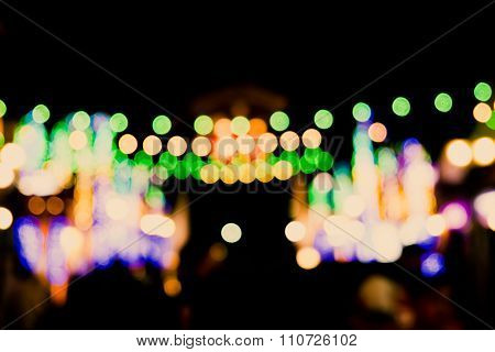 Blurred Defocussed Abstract Background Of A Night Market