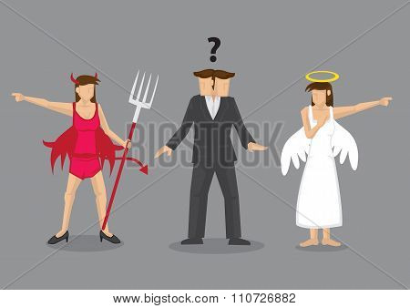 Angel Vs Devil Decision-making Dilemma Vector Illustration