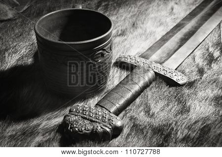 Viking Sword And Stein On A Fur