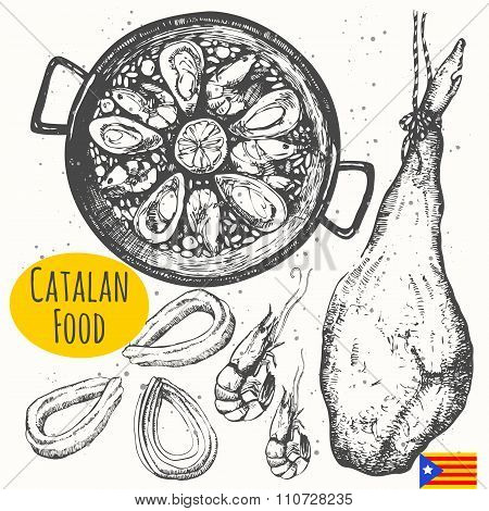 Catalonia food in the sketch style. Spanish traditional products.