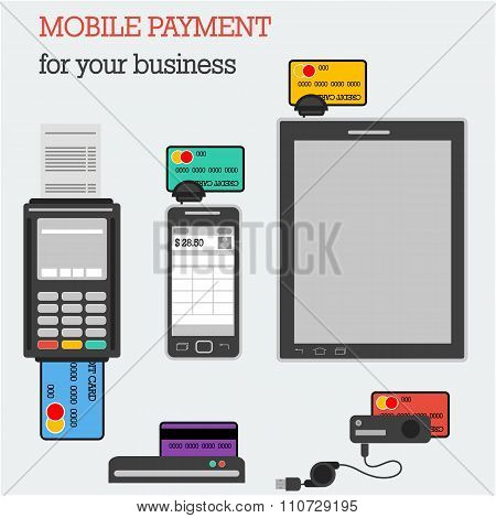 Flat Icons Banking Equipment With Credit Cards