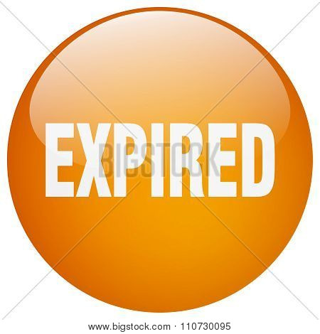Expired Orange Round Gel Isolated Push Button