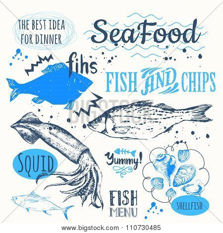 Hand-drawn sketch seafood: fish, lobster, clams, squid.